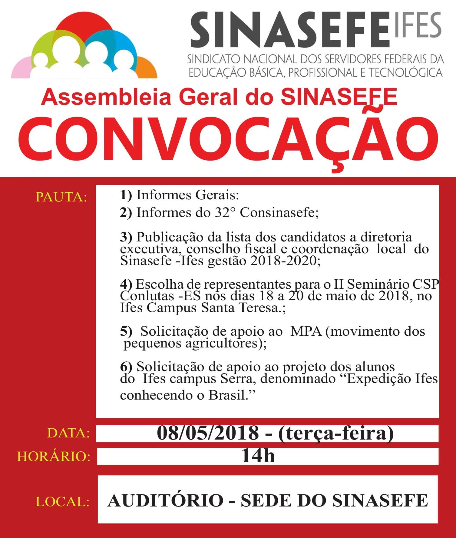 Sinasefe Seção Ifes realiza assembleia geral nesta terça-feira, 08, às 14 horas