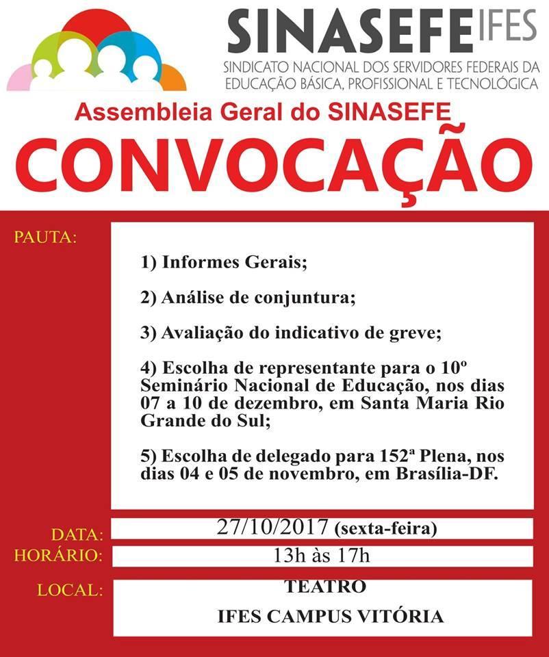 Sinasefe Seção Ifes realizará assembleia geral nesta sexta-feira, 27, para debater indicativo de greve