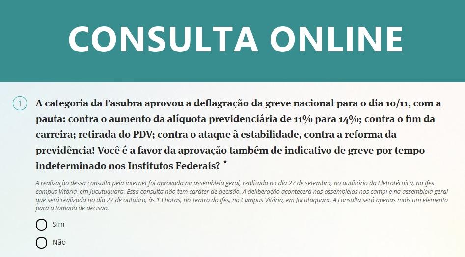 Prazo para votar na consulta online sobre o indicativo de greve termina nesta sexta, às 11 horas