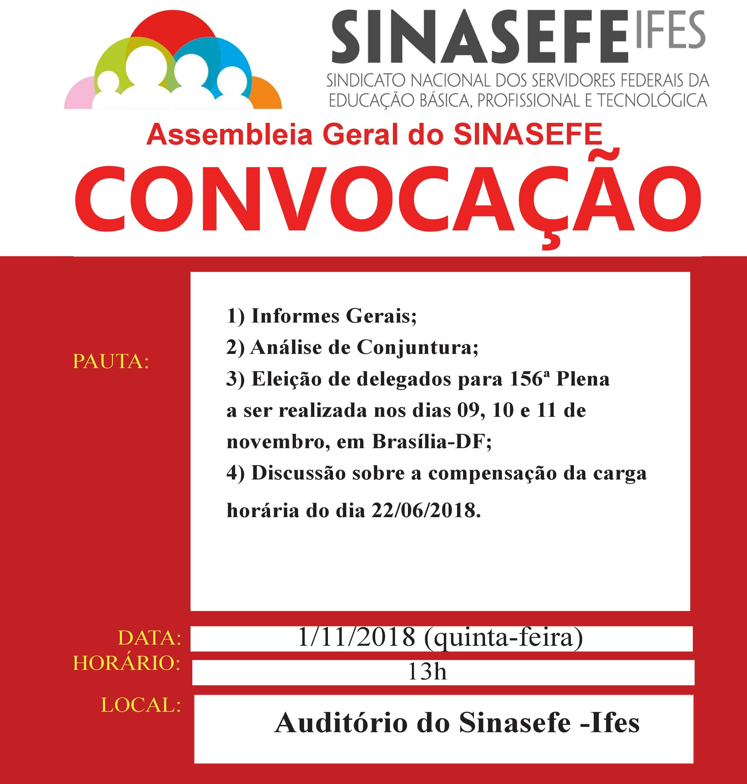Assembleia geral do Sinasefe Ifes elegerá delegados/as para 156ª Plenária Nacional