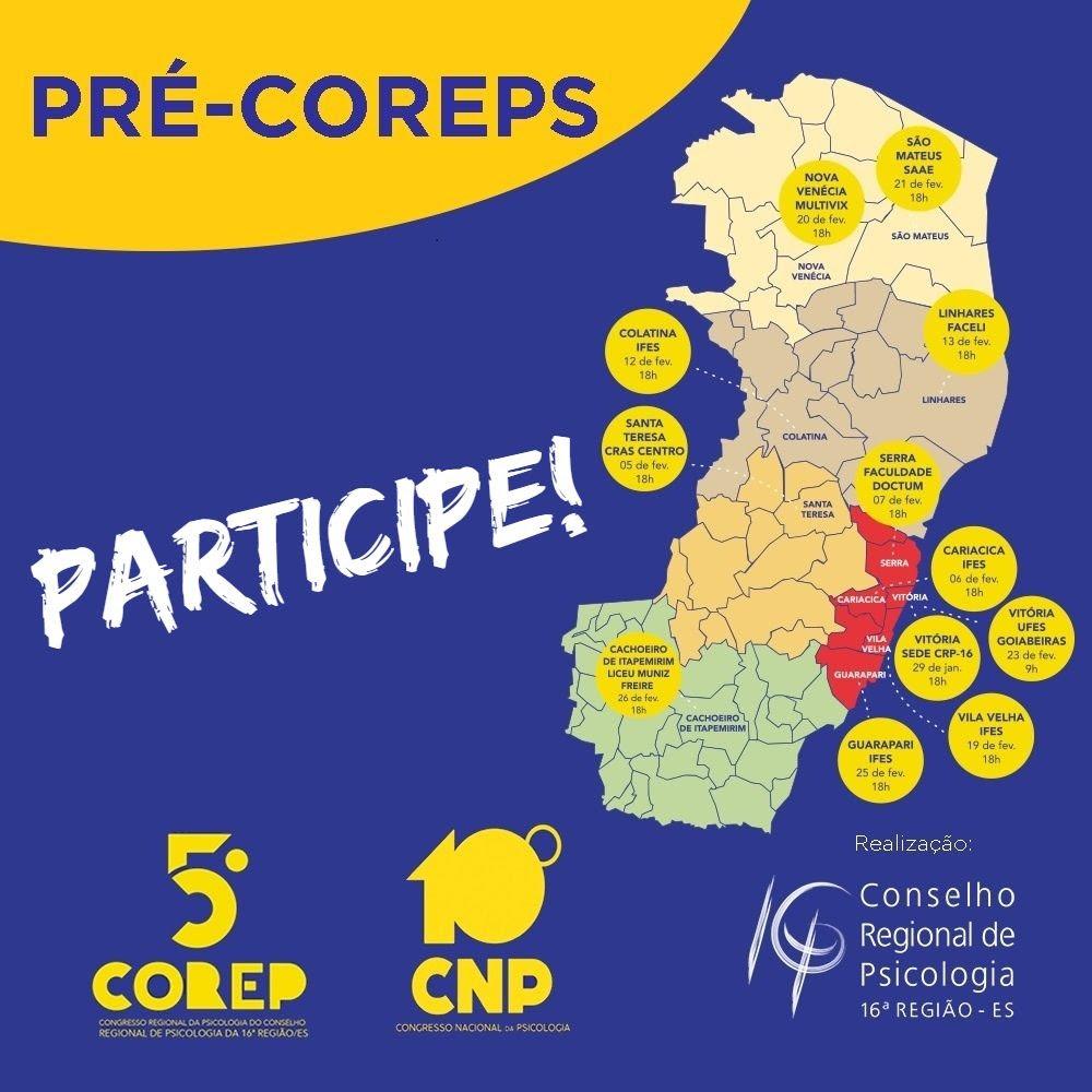 Confira o calendário dos pré-congressos do 5º Corep. Próximos serão em Santa Teresa, Cariacica e Serra